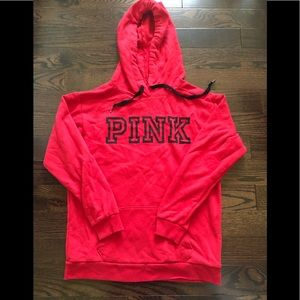red hoodie from pink